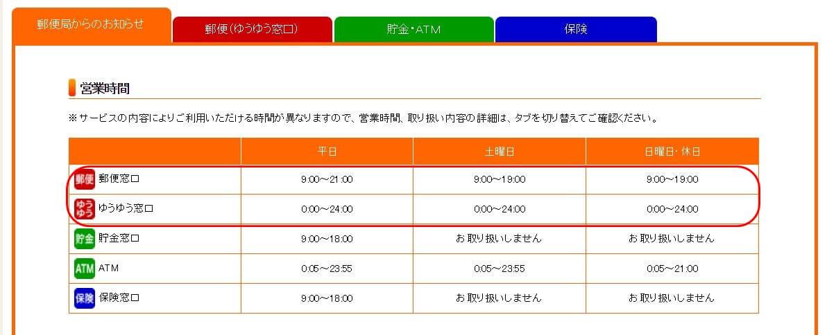 東京本局郵便局営業時間